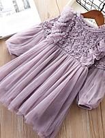 Недорогие -Дети Девочки Симпатичные Стиль Однотонный Платье Лиловый