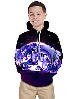 Недорогие -Дети Дети (1-4 лет) Мальчики Активный Классический Unicorn Геометрический принт Галактика Контрастных цветов С принтом Длинный рукав Худи / толстовка Лиловый