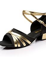 Недорогие -Девочки Танцевальная обувь Синтетика Обувь для латины На каблуках Толстая каблук Черный / Красный / Синий