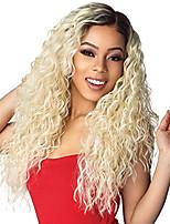 Недорогие -Синтетические кружевные передние парики Кудрявый Стиль Средняя часть Лента спереди Парик Блондинка Черный и золотой Искусственные волосы 18-26 дюймовый Жен. Регулируется Жаропрочная Для вечеринок