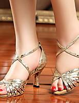 Недорогие -Жен. Танцевальная обувь Искусственная кожа Обувь для латины На каблуках Тонкий высокий каблук Золотой / Серебряный / Красный