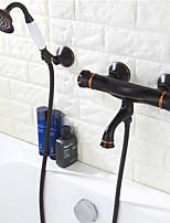 Недорогие -Смеситель для душа - Современный Начищенная бронза На стену Керамический клапан Bath Shower Mixer Taps