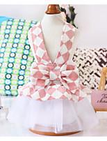 Недорогие -Собаки Коты Животные Платья Одежда для собак Бант Оранжевый Розовый Полиэстер Костюм Назначение Лето Свадьба