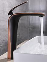 Недорогие -Ванная раковина кран - Широко распространенный Хром / Начищенная бронза / черный По центру Одной ручкой одно отверстиеBath Taps