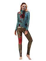 Недорогие -Зомби Косплэй Kостюмы Взрослые Жен. Сплошной Хэллоуин Хэллоуин Фестиваль / праздник Полиэстер Бледно-синий Жен. Карнавальные костюмы / трико / Комбинезон-пижама