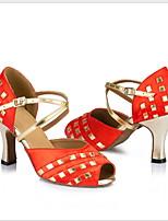 Недорогие -Жен. Танцевальная обувь Свиная кожа Обувь для латины На каблуках Тонкий высокий каблук Красный