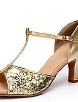 Недорогие -Жен. Танцевальная обувь Резина Обувь для латины На каблуках Кубинский каблук Золотой / Серебряный