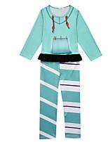 Недорогие -Дети Девочки Уличный стиль Полоски Длинный рукав Набор одежды Зеленый