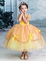 Недорогие -Дети Девочки Активный Милая Однотонный Halloween С короткими рукавами Средней длины Платье Желтый