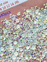 Недорогие -1440 шт. Смешать 6 размер круглый кристалл прозрачный ab стекло с плоским назад ногтей горный хрусталь