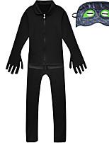 Недорогие -Дети Девочки Уличный стиль Горошек Длинный рукав Набор одежды Черный