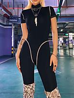 Недорогие -Жен. Пэчворк Тренировочный комбинезон Сплошной цвет Йога Бег Тренировка в тренажерном зале Боди С короткими рукавами Спортивная одежда Влагоотводящие Быстровысыхающий Подтяжка Утягивание живота