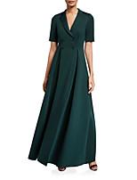 Недорогие -А-силуэт V-образный вырез В пол Джерси Торжественное мероприятие Платье с Пуговицы от LAN TING Express