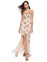 Недорогие -Жен. Элегантный стиль Оболочка Платье - Цветочный принт, Пайетки С разрезами Макси