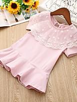 Недорогие -Дети Девочки Однотонный Кружева Платье Розовый