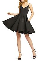 Недорогие -А-силуэт На тонких бретелях До колена Джерси Коктейльная вечеринка Платье с от LAN TING Express