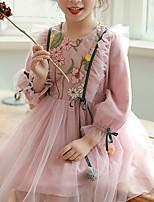 Недорогие -Дети Девочки Геометрический принт Платье Розовый