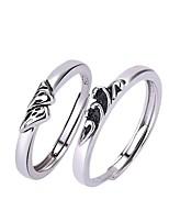 Недорогие -Для пары Кольца для пар Кольцо 1шт Белый Серебряный Медь Круглый Классический корейский Мода Подарок обещание Бижутерия
