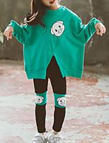 Недорогие -Дети Дети (1-4 лет) Девочки Классический Уличный стиль На выход На каждый день С принтом С разрезами С принтом Длинный рукав Короткий Короткая Набор одежды Пурпурный