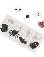 Недорогие -1 шт. Хэллоуин череп паук шоколад плесень превратить сахарный торт силиконовые формы домашней выпечки посуда