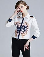 Недорогие -Жен. С принтом Рубашка Элегантный стиль В клетку Белый