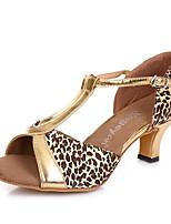 Недорогие -Жен. Танцевальная обувь Кожа Обувь для латины На каблуках Тонкий высокий каблук Черный / Цвет-леопард / Золотой