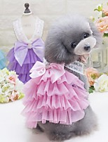 Недорогие -Собаки Платья Одежда для собак Однотонный Лиловый Синий Розовый Полиэстер Костюм Назначение Лето Мужской Свадьба