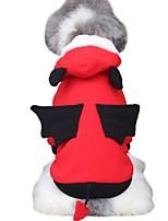 Недорогие -Собаки Костюмы Крылья летучей мыши Одежда для собак Контрастных цветов Красный Полиэстер Костюм Назначение Зима Праздник Хэллоуин