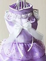 Недорогие -Собаки Инвентарь Платья Одежда для собак Бант Белый Лиловый Розовый Полиэстер Костюм Назначение Лето Свадьба