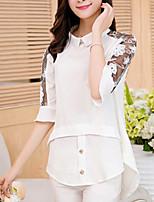 Недорогие -Жен. Кружева Рубашка Классический Однотонный Черный