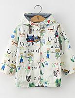 Недорогие -Дети Девочки Классический Геометрический принт Куртка / пальто Белый