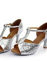 Недорогие -Жен. Танцевальная обувь Сатин Обувь для латины На каблуках Толстая каблук Черный / Коричневый / Золотой