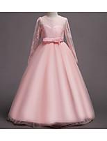 Недорогие -Дети Девочки Симпатичные Стиль Цветочный принт Бант Пэчворк Макси Платье Белый