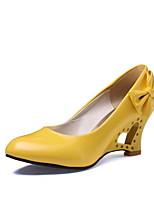Недорогие -Жен. Обувь на каблуках На толстом каблуке Круглый носок Бант Полиуретан Лето Черный / Белый / Желтый