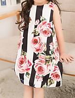Недорогие -Дети Девочки Цветочный принт Платье Белый