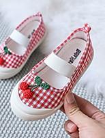 Недорогие -Девочки Обувь для малышей Полотно На плокой подошве Маленькие дети (4-7 лет) Белый / Красный Осень