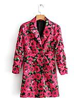 Недорогие -Жен. Повседневные Обычная Пальто, Растения Лацкан с тупым углом Длинный рукав Полиэстер Розовый