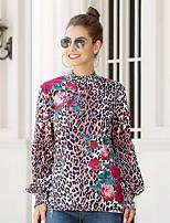 Недорогие -Жен. С принтом Блуза Классический Цветочный принт / Леопард Черный
