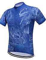 Недорогие -Vendull Цветочные ботанический Муж. С короткими рукавами Велокофты - Синий Велоспорт Джерси Верхняя часть Дышащий Быстровысыхающий Анатомический дизайн Виды спорта 100% полиэстер / Эластичная
