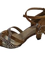 Недорогие -Жен. Танцевальная обувь Сатин Обувь для латины Кристаллы На каблуках Кубинский каблук Бронзовый