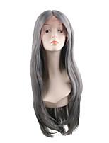 Недорогие -Синтетические кружевные передние парики Естественный прямой Стиль Средняя часть Лента спереди Парик Искусственные волосы 28 дюймовый Жен. Мягкость Регулируется новый Серый Парик Длинные