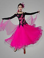 Недорогие -Бальные танцы Платья Жен. Выступление Чинлон / Органза Аппликации Длинный рукав Средняя талия Платье