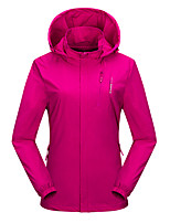 cheap -Wolfcavalry® Women's Hiking Jacket Outdoor Patchwork Thermal / Warm Waterproof Windproof Breathable Top Elastane Full Length Hidden Zipper Hunting Fishing Climbing Purple / Red / Fuchsia