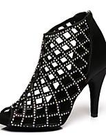 Недорогие -Жен. Танцевальная обувь Сатин Обувь для латины На каблуках Тонкий высокий каблук Черный