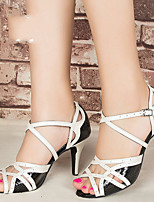Недорогие -Жен. Танцевальная обувь Искусственная кожа Обувь для латины На каблуках Тонкий высокий каблук Белый / Золотой