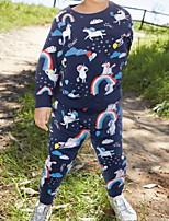 Недорогие -Дети Девочки Классический Однотонный Длинный рукав Набор одежды Тёмно-синий