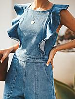 Недорогие -Жен. Уличный стиль Синий Комбинезоны, Однотонный Открытая спина S M L