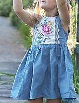 Недорогие -Дети Девочки Цветочный принт Платье Светло-синий