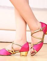 Недорогие -Жен. Танцевальная обувь Сатин Обувь для латины На каблуках Толстая каблук Черный и золотой / Золотой / Пурпурный