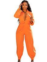Недорогие -Жен. Классический Оранжевый Комбинезоны, Однотонный S M L